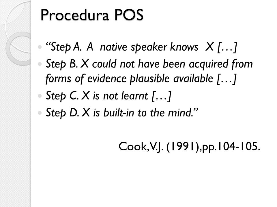 Procedura POS Step A. A native speaker knows X […]